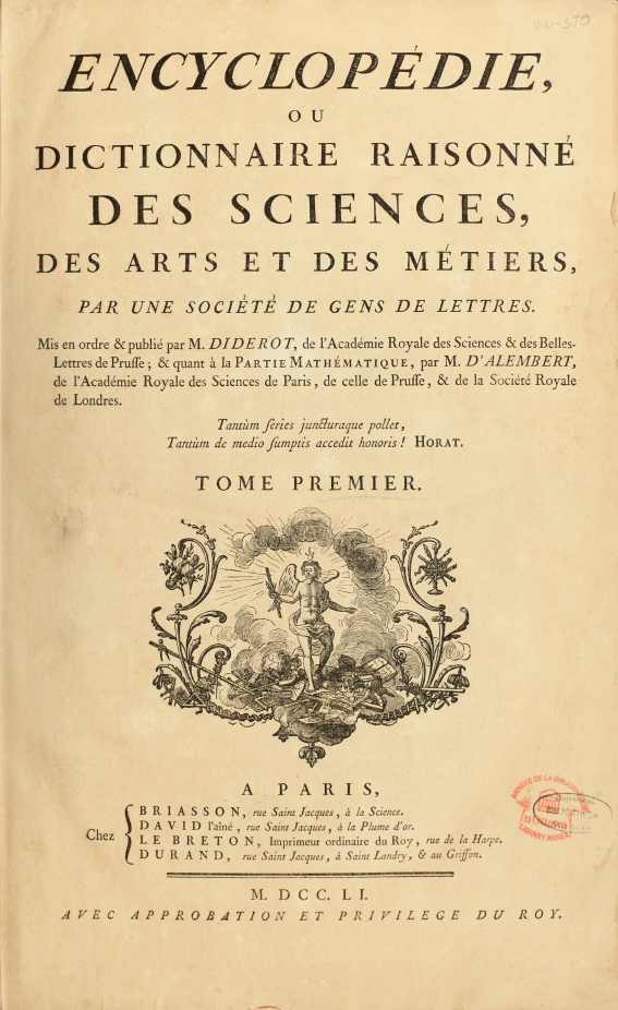 Encyclopedie de d alembert et diderot premiere page enc 1 na5