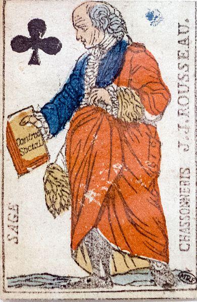 Jean jacques rousseau en sage tenant le contrat social