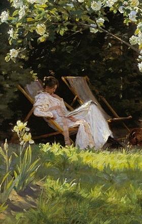 Peder severin kroyer marie en el jardin reading